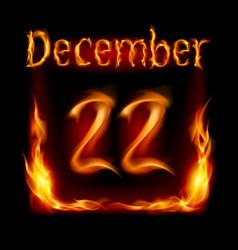 twenty-second december in calendar of fire icon vector image vector image