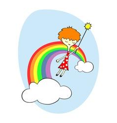 fairy over the rainbow vector image