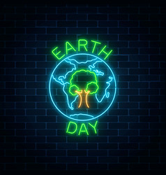 glowing neon sign of world earth day with tree in vector image vector image