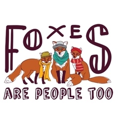 Hipster fox fun sign poster animal card vector image vector image