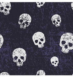 seamless halloween grunge pattern with skulls vector image vector image