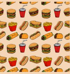 seamless pattern with fast food hamburger hot dog vector image vector image