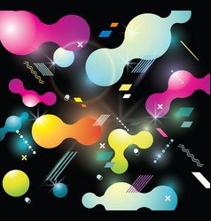 Abstract background with bright bubbles on black vector