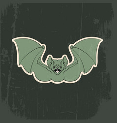 angry bat with fangs and wings in hand drawn line vector image