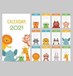 animals calendar 2021 cute monthly calendar vector image