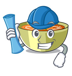 Architect cartoon lentil soup ready to served vector