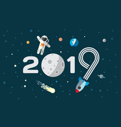 Astronaut and rocket on the moon background vector