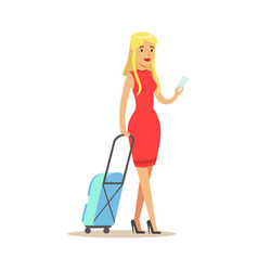 beautiful blond girl in a red dress traveling with vector image