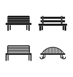 bench icon set simple style vector image