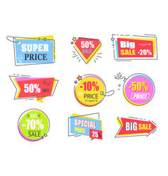 Big super sale promotional stickers with stars set vector