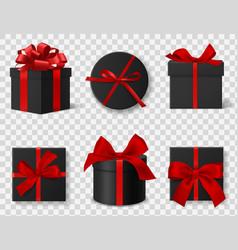 black gift box realistic 3d dark cardboard vector image