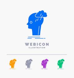 brainstorm creative head idea thinking 5 color vector image