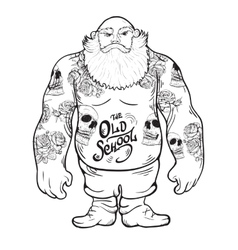 brutal tattoo man with a beard vector image