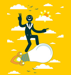 businessman flying on a rocket vector image