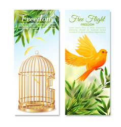 canary in free flight vertical banners vector image