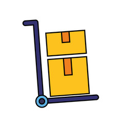 cart delivery cardboard boxes vector image