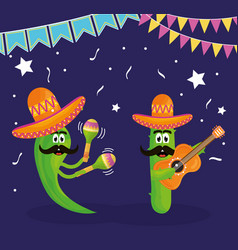 cinco de mayo chilli and cactus characters playing vector image