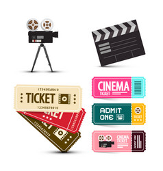 cinema tickets movie items set isolated on white vector image