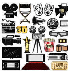 Cinematography and retro movie cinema icons vector