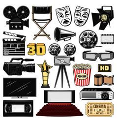 cinematography and retro movie cinema icons vector image