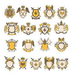 Colored pictures set of heraldic elements vector