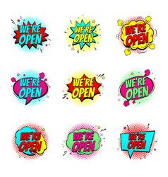colour speech bubbles we are open vector image