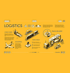 Commercial cargo transport service website vector