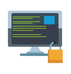 Computer screen with padlock vector
