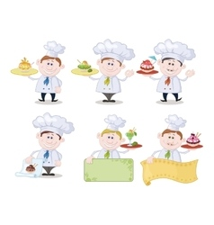 Cooks with Ice Cream and Posters vector