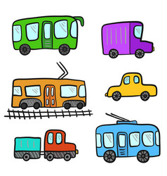 cute cartoon colorful doodle city transport vector image