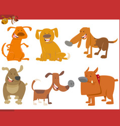 cute dog animals set vector image