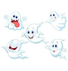 Cute ghost cartoon collection set vector