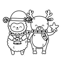 Cute sheep and reindeer with star and bell merry vector
