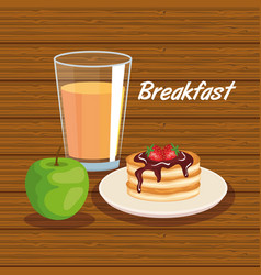 Delicios pancakes with apple and orange juice vector