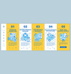 Dropshipping onboarding mobile web pages template vector