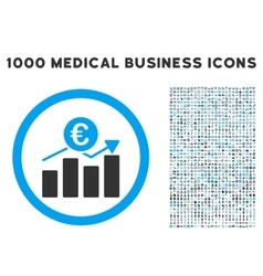 Euro Business Chart Icon with 1000 Medical vector image
