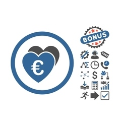 Euro Favorites Flat Icon With Bonus vector image