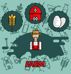 Farm flat concept icons vector