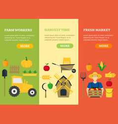 Farmer vegetable seller banner card vecrtical set vector