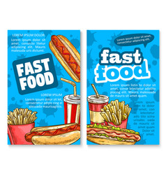fast food lunch sketch poster template set design vector image