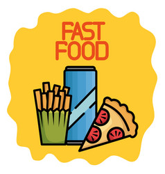 fast food set icons vector image