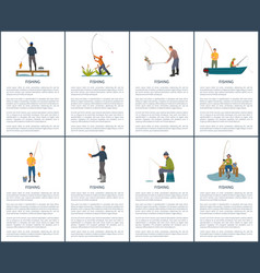 Fishing man from platform boat and from bank vector