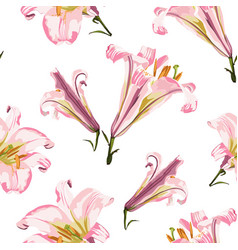 floral seamless pattern with pink lilies flowers vector image