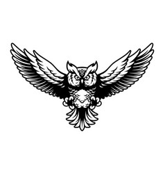flying owl with open wings and claws logo mascot vector image