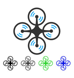 Flying quadcopter flat icon vector