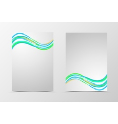Front and back dynamic wave flyer template design vector