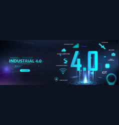Futuristic banner industry 40 vector