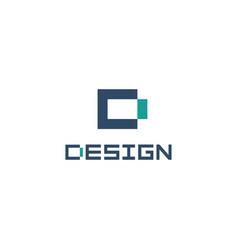 geometric letter d flat cartoon style logo vector image