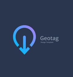 Geotag with arrow or location pin logo icon design vector