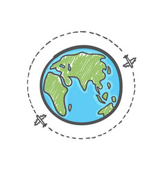 hand drawn plane travel around world vector image
